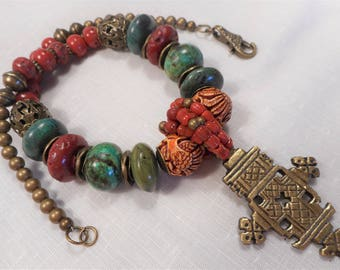 Tibet Brass Pendent with Handmade Tibetan Glass Carved Bone Turquoise and Coral Bead Necklace
