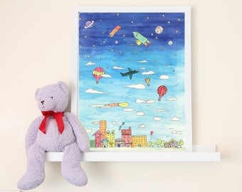 Flights of Fancy Town and Sky Hand-Illustrated Children's Art Print