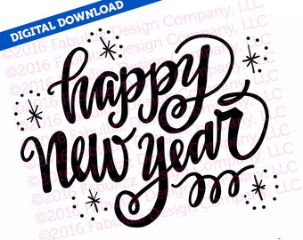 """Happy New Year - Typographic Illustration - 10"""" x 8"""" -  SVG File for CRICUT"""