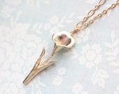 Calla Lily Necklace Matte Gold Flower Pendant Easter Jewelry Spring Fashion Long necklace Layering necklace Bridesmaids Gift Mothers Day