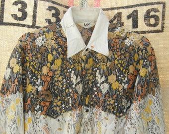 Vintage 70s LEE Rockabilly SHIRT long sleeve pearl snap Western Yoke floral line dancing barn dance Men's USA