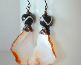 Red Agate Earrings, Nugget Slab,Rough Edges, Ruffled, Etched Bone and Aged Copper Earrings