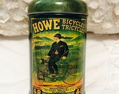 MOTHERS DAY SALE Vintage Howe Bicycle Tin Box Glasgow Scotland Advertising Green Bike Tricycle