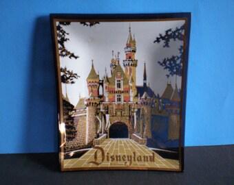 Vintage Mid Century Disneyland Glass Tray Souvenir