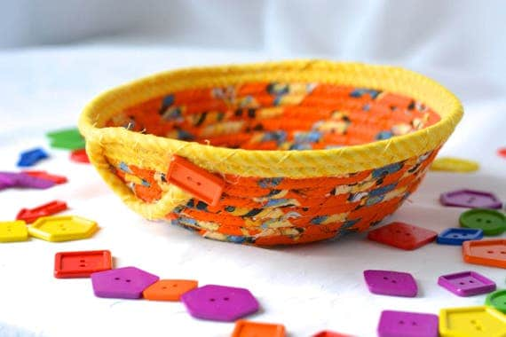 Halloween Candy Dish, Fall Bowl, Handmade Party Basket, Cute Orange Desk Accessory Bowl, hand wrapped and coiled fabric basket