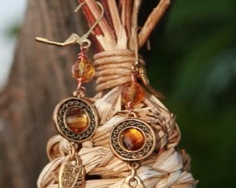 Amber colored earrings