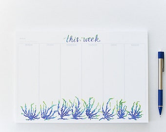 Weekly Planner Notepad, Illustrated Weekly Desk Notepad, Mousepad Notepad Planner