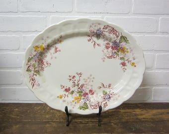 "Vintage SR Ridgway Ironstone Staffordshire England English Garden 14"" Serving Platter Plate"