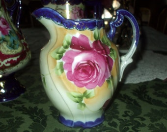 """Large Antique Nippon Cobalt & Hand Painted Roses Pitcher Ewer 7 1/2"""" Tall Victorian Ornate Porcelain"""