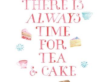 5x7, 8x10 or 8.5x11 - Tea and Cake Print
