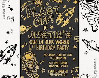 Outer Space Invitation, Outer Space Party, Astronaut Birthday, Boy Birthday Invitation, Chalkboard Invitation, Printable Birthday Invitation