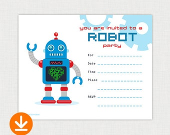 Robot Birthday Party Invitations - DIY Fill In Birthday Invitation - Printable Birthday party invite - Instant Download