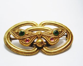 Vintage Etruscan Style Gold Plated Butterfly Brooch or Pin with Pink and Green Glass