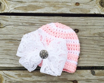 Big Bow Baby Hat - Newborn Hospital Hat - Baby Guel Hospital Hat - Bringing Home Baby Pink and White Striped Hat - by JoJosBootique