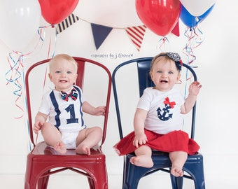 Nautical First Birthday Twin Set