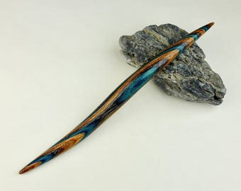Double Curved Hair Stick-Pin made from Earth & Sky DymondWood-  Very durable. Water resistant.