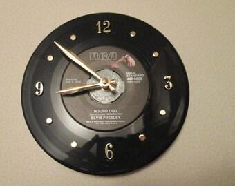 Elvis Presley 45 Record Clock Hound Dog