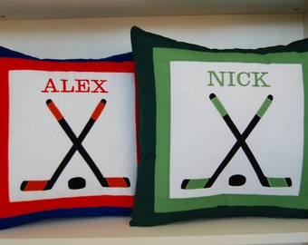 Custom Embroidered Hockey Pillow