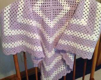 Lavender & White Crib Blanket