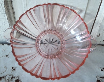 Pink Depression Glass Antique Collectible Bowl with Handles for Serving Dish 1930's