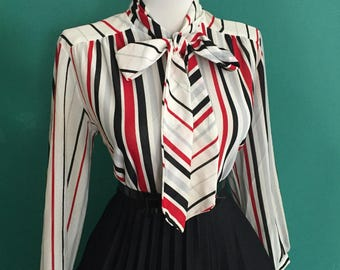 Vintage 1950s 1960s Atomic Red Tan Black & White Striped Long Sleeve Button Down Blouse w PUSSY BOW Ascot Tie Neck