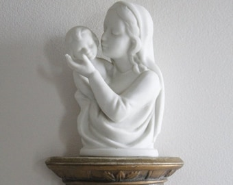 SHOP SALE Vintage Bisque Madonna and Child Plaque Wall Decor