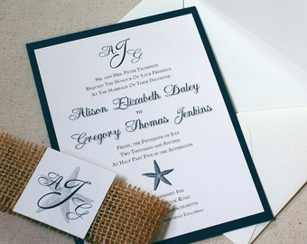 Starfish Wedding Invitation, Beach Wedding Invitation, Navy Wedding, Monogram Invitation, Navy Starfish, DEPOSIT