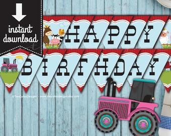 Farm Animal Banner - Happy Birthday Banner - GIRL - Printable - Print Yourself