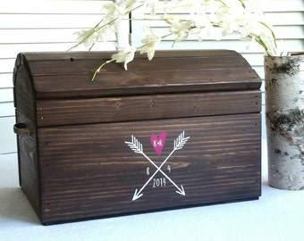 Ex large personalized wedding card box,  treasure chest keepsake box,  beautiful home decor accent piece