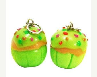 6 Miniature Green Lemon Cupcake Polymer Clay Foods Supplies for Beaded Jewelry Charms