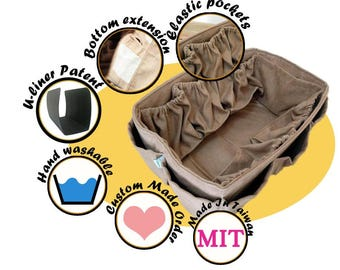 Diaper Bag organizer insert for Louis Vuitton Neverfull GM / Faux Suede Beige 30x17 cm + FREE Pacifier Holder