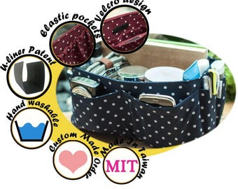 Nice Purse Organizer Insert fits everything, extra sturdy, blue polka dots, medium and large size