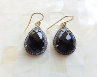 Faceted Black Onyx & Cubic Zirconia Pave Vermeil Pear Shaped Drop Dangle Earrings (E1264)