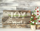 "Country Christmas wood decor, rustic sign, Joy to the World"", reclaimed wood, one of a kind"