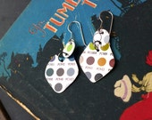 Colorful Dots  Tin Earrings 10, Colored Pencil Tin, Light Weight dangles, Earrings for Graphic Artists