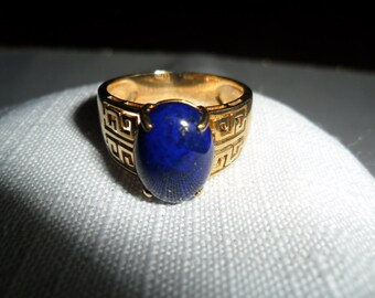 Vintage 14k Gold and Lapis Ring Size 9.5