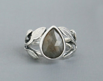 Sapphire Ring Organic Vine Leaf Design Sterling Silver Natural Coloured and Faceted Sapphire
