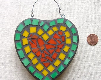 Heart, Love, Orange, Wall Hanging, Ornament, Wedding, Nursery, Gift, Home Decor, Original Art, Mosaic