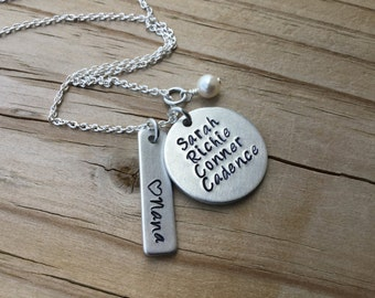 Personalized Necklace, Mom, Grandma, Nana, Aunt Necklace- customized with names and bead of your choice