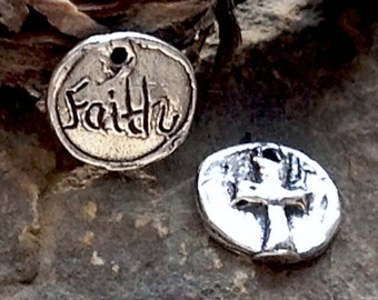 Sterling Silver Cross Charms - -  2 - 9mm Round Faith Charms  AC109