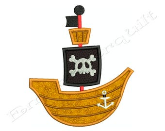 PIRATE Boat Ship - Machine Applique Embroidery - Instant Digital Download