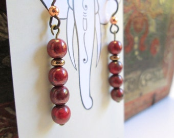 Dark Bohemian Red and Copper Czech Glass Earrings, Boho Chic Gypsy Look with Hypoallergenic Niobium Earwires