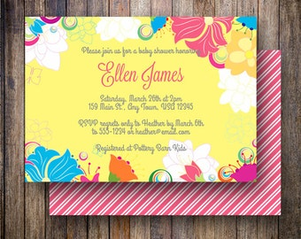 Floral Baby Shower Invitation, Floral Baby Shower Invite, Printable Baby Shower Invitation - Floral Frame in Yellow, Blue, White, Fuchsia