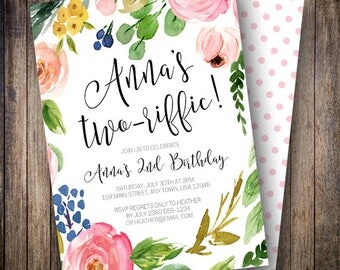 Second Birthday Party Invitation, Two-riffic Birthday Party, Girl Birthday Invite, Boho Floral Birthday Invite, Pink, Blue, Green