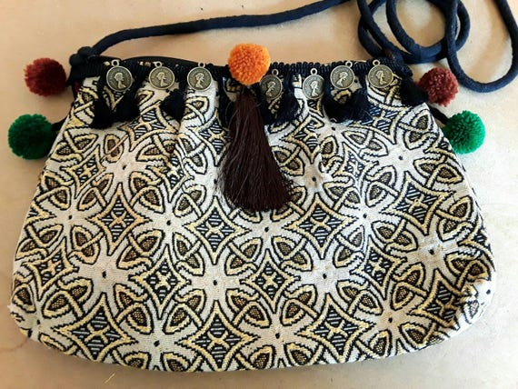 Boho clutch, boho mini bag wallet, travel bag women clutch, mini bag orange pouch, wristlet