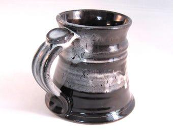 Black & White Stein - Tankard - Renaissance  Stein - Coffee Mug - Pottery Stein - 14 oz. -  Handmade Pottery - Pottersong  - Black Grey