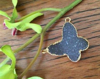 Druzy Smoky Grey Butterfly Pendant, Druzy, Drusy, Pendant, Jewelery making