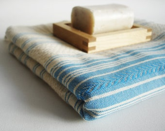 SALE 50 OFF/ Turkish Beach Bath Towel Peshtemal / Natural - Blue / Wedding Gift, Spa, Swim, Pool Towels and Pareo