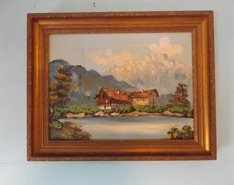 Mid Century,landscape, oil painting, on canvas framed. Signed Oil Panting, Farm house,mountain, lake house