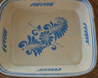 "Southwestern Decor Vintage serving dish, Unusual cream and blue Design, 7"" by 6"" Creamware, Tourist Trade, 1940s"